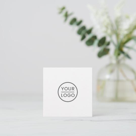 Custom logo, white, square, professional square business card 2