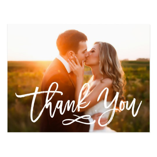 Chic Hand Lettered Wedding Thank You Postcard 1
