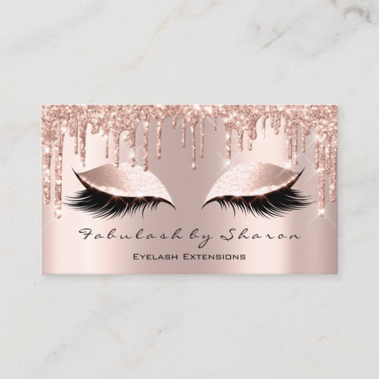 Makeup Artist Eyelash Lashes Glitter Drips Rose Business Card 1