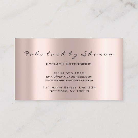 Makeup Artist Eyelash Lashes Glitter Drips Rose Business Card 2