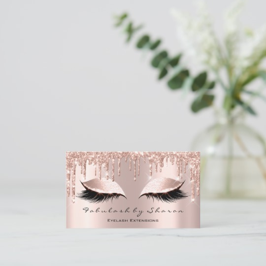 Makeup Artist Eyelash Lashes Glitter Drips Rose Business Card 4