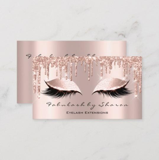 Makeup Artist Eyelash Lashes Glitter Drips Rose Business Card 3